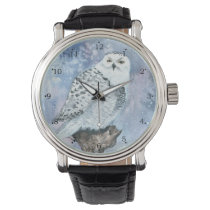 Snowy Owl Wildlife Art in Watercolor Wristwatch