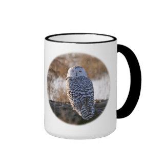 Snowy Owl Winking Ringer Coffee Mug