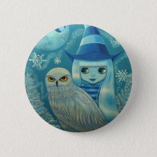 Snowy Owl Witch Button