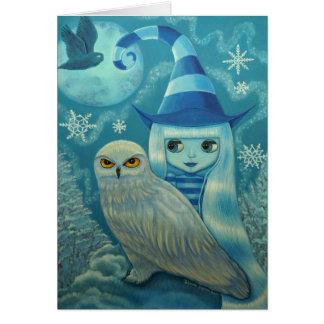Snowy Owl Witch Card