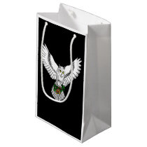 Snowy Owl with a set of Wedding Rings Small Gift Bag