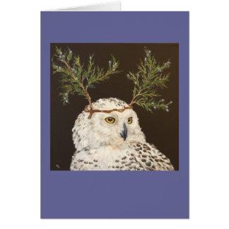 snowy owl with cedar branch hat cards