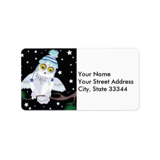 Snowy Owl with Hat address labels