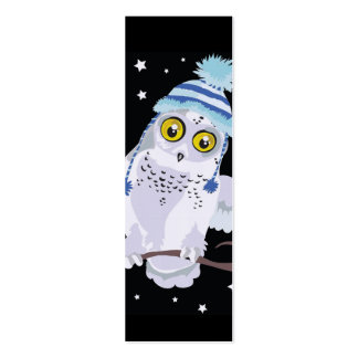 Snowy Owl with Hat Bookmark Business Card Templates