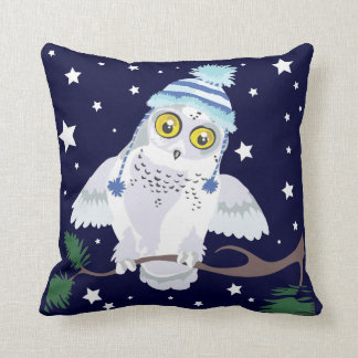 Snowy Owl with Hat~ throw pillow