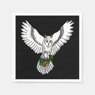 Snowy Owl with Two Gold Wedding Rings Napkin