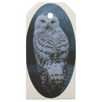 Snowy owl wooden gift tags