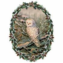 SNOWY OWL & WREATH by SHARON SHARPE Cutout