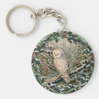 SNOWY OWL & WREATH by SHARON SHARPE Keychain