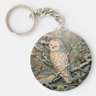 SNOWY OWL & WREATH by SHARON SHARPE Keychain