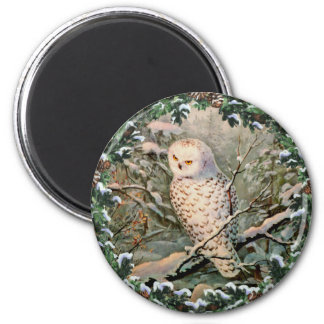 SNOWY OWL & WREATH by SHARON SHARPE Refrigerator Magnets
