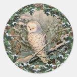 SNOWY OWL & WREATH by SHARON SHARPE Sticker