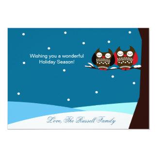 Snowy Owls Snow Holiday Christmas Card