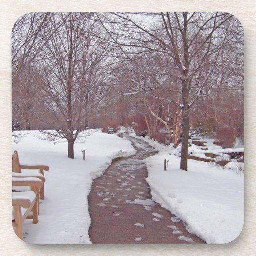 SNOWY PARK PATH BEVERAGE COASTER