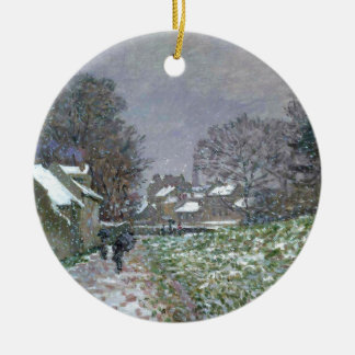 Snowy Path at Argenteuil Ceramic Ornament