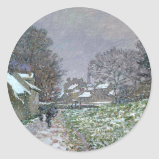 Snowy Path at Argenteuil Classic Round Sticker