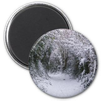 Snowy Path 2 Inch Round Magnet