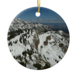 Snowy Peaks of Grand Teton Mountains I Double-Sided Ceramic Round Christmas Ornament