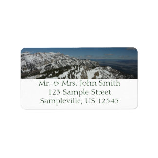Snowy Peaks of Grand Teton Mountains I Photography Label