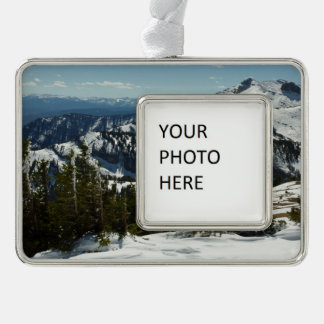 Snowy Peaks of Grand Teton Mountains II Photo Silver Plated Framed Ornament