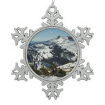 Snowy Peaks of Grand Teton Mountains II Photo Snowflake Pewter Christmas Ornament