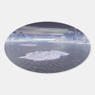 Snowy Peaks Oval Sticker