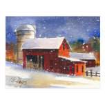 Snowy Pennsylvania Barns Postcard