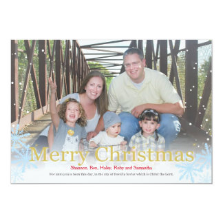 Snowy Photo Christmas Card With Gold Lettering