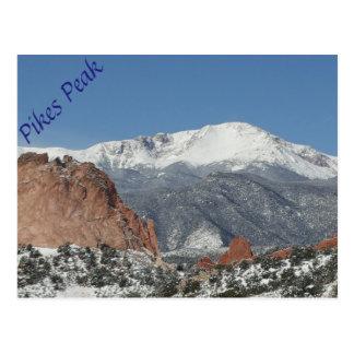 Snowy Pikes Peak postcard