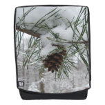 Snowy Pine Branch Winter Nature Photography Backpack