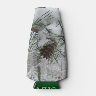 Snowy Pine Branch Winter Nature Photography Bottle Cooler