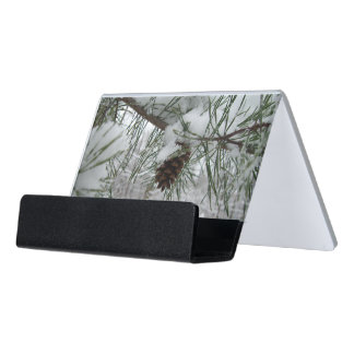 Snowy Pine Branch Winter Nature Photography Desk Business Card Holder