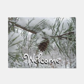 Snowy Pine Branch Winter Nature Photography Doormat