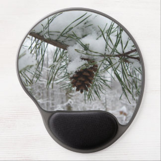 Snowy Pine Branch Winter Nature Photography Gel Mouse Pad