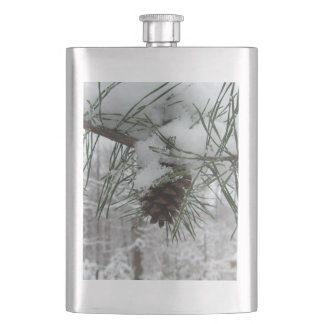 Snowy Pine Branch Winter Nature Photography Hip Flask