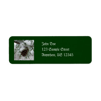Snowy Pine Branch Winter Nature Photography Label