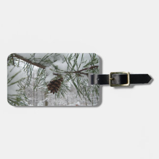 Snowy Pine Branch Winter Nature Photography Luggage Tag