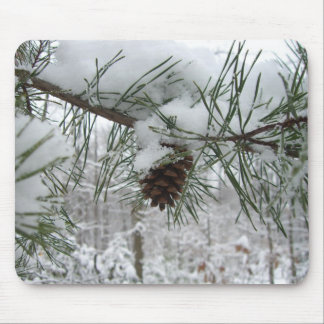 Snowy Pine Branch Winter Nature Photography Mouse Pad