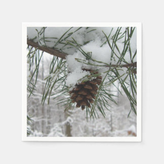Snowy Pine Branch Winter Nature Photography Napkin