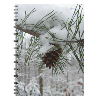 Snowy Pine Branch Winter Nature Photography Notebook