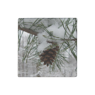 Snowy Pine Branch Winter Nature Photography Stone Magnet