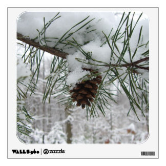 Snowy Pine Branch Winter Nature Photography Wall Decal