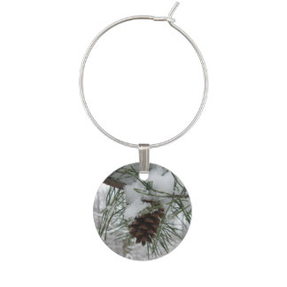 Snowy Pine Branch Winter Nature Photography Wine Charm