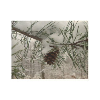 Snowy Pine Branch Winter Nature Photography Wood Poster