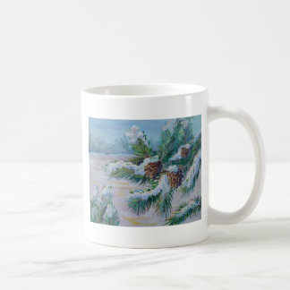 Snowy pine branches coffee mugs