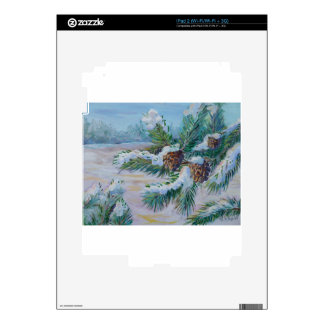 Snowy pine branches iPad 2 decals