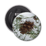 Snowy Pine Cone I Winter Nature Photography Bottle Opener