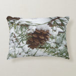 Snowy Pine Cone I Winter Nature Photography Decorative Pillow