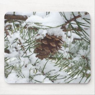 Snowy Pine Cone I Winter Nature Photography Mouse Pad