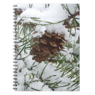Snowy Pine Cone I Winter Nature Photography Notebook